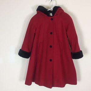 100% Wool Girls size 6 RED hooded dress coat Fur